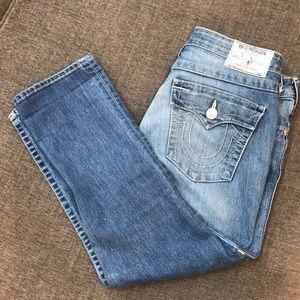 True Religion Blue Was Capri/Cropped Jeans NWOT